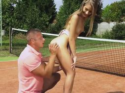Fit blond, Tiffany Tatum had intercourse with her tennis trainer, instead of having a class