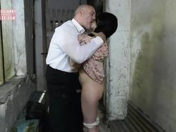 Naughty black-haired, Rebecca Volpetti is deep-throating trunk in the dungeon space and getting it from the back