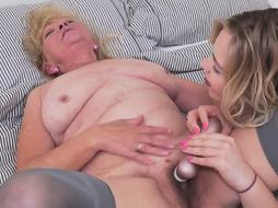 Fur Covered ash-blonde nymph is energetically making enjoy with a junior dame and even using some fuck-fest fucktoys