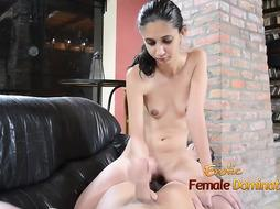Pretty nubile brown-haired with diminutive boobies is providing a hj to a fellow she has just faced