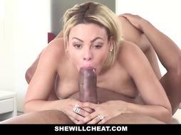 SheWillCheat - Towheaded Latina Cuban Wifey Enjoys Thick Dark-Hued Knob