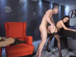 Steaming Italian brown-haired, Martina is dressed in glamour tights and poking a guy she has just encountered