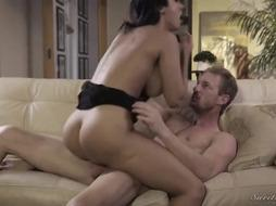 Enticing chick with huge cupcakes, Reena Sky enjoys the way Ryan Mclane is smashing her brains out