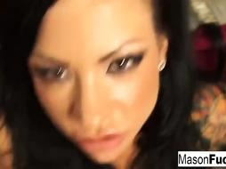 Amazing, tattoed lollipop dicksucker, Mason is getting on all fours on the floor and pleasuring a stud she enjoys
