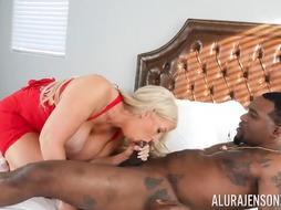 Alura Jenson is a boinking, milky platinum-blonde with hefty titties, who luvs to drill dark-hued studs