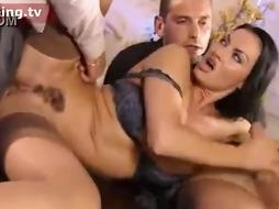 Laura Angel is a filthy minded dark-haired who needs 2 fellows to pulverize her, to get satiated