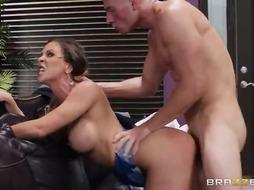 Luxurious ash-blonde dame, Cherrie DeVille is having lovemaking with her stepson's sexy buddy, just for joy