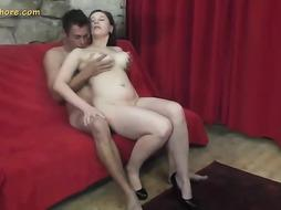 Big-Chested cougar dark-haired is about to shag a dude she has just encountered, just for joy