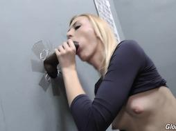 Nubile Blondie Inhales Pricks In Gloryhole