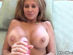 Mature blond housewife with hefty milk bumpers is frolicking with her paramour's rock firm man-meat
