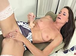 Uber-Sexy brown-haired in glamour underwear and pantyhose, Sofie Marie is about to use a fresh fake penis