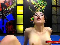 Brown-Haired with pointy nips, Francys Belle got drilled after inhaling boner and getting a golden bathroom