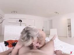 Silvy Vee is a bodacious, blondie mature who enjoys to screw junior studs, in the morning