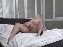 Naughty mature is dressed in only softcore, dark-hued pantyhose while having super-fucking-hot romp with a junior man