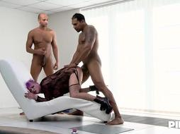 Lena is a pinkish haired manstick teaser who loves to do it with 2 fellows
