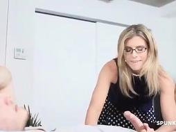 Mature light-haired doll with glasses gave a fellatio to her step- stepson, to help him inspect