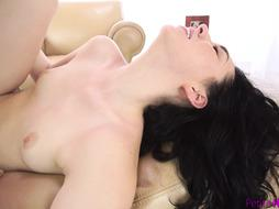 Small Dark-Haired Creampied On Armchair