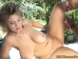Giant Knockers Cougar Stepmother Penetrates The Garden