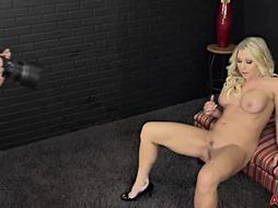 Extraordinaire ash-blonde female in a stunning, crimson sundress, Katie Morgan is bellowing from enjoyment while tugging