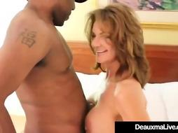Gigantic jugged milf, Deauxma is deepthroating and railing a dark-hued meatpipe n a motel apartment