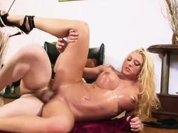 Leya Falcon is squashing her meaty, hard hooters while getting poked the way she always desired