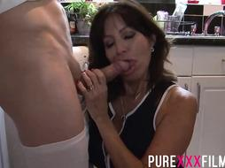 Buxomy housewife, Tara Holiday was bellowing while getting her clean-shaved cooch slurped in the kitchen