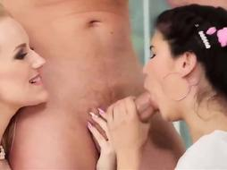 Ponytailed chick and her step- mummy are having a insatiable threeway with a spectacular neighbor