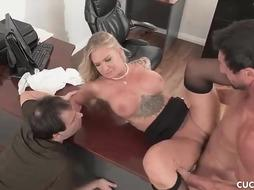 Outstanding blondie girl, Alison is opening up her gams broad open and getting pounded, while at work