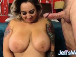 Tatted, light-haired bbw, Hayley Jane got pulverized in front of the camera, the other day