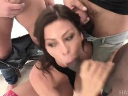 Alexis Fawx is having her first-ever, bi-racial gang-fuck and it looks like she loves it