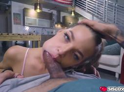 Insatiable sister heads on pawing and inhaling stepbros youthfull meat
