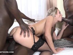 Blondie prostitute doll is willing to have bi-racial gang fuckfest, if she gets some currency