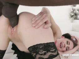 Dark haired nubile with lil orbs, Lola Ebony had anal invasion fuck-fest with a mind-blowing, dark-hued boy