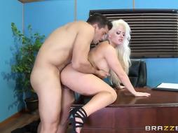 Astonishing ash-blonde assistant, Holly Heart is permanently getting penetrated at work after a deep deep throat