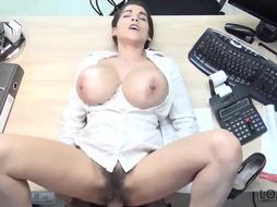 Buxom dark-haired got her unshaved slit packed up with a rock hard beefstick, while still at work