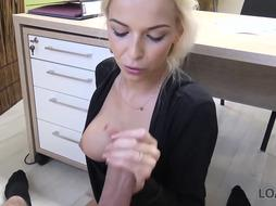 Ambitious blond nymph is always in the mood to have xxx fuck-fest, even while at work