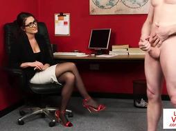 Office doll with glasses luvs to witness her workers jacking off, until they pour out from delight