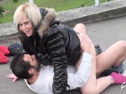 Lola is a bitchy mature blond who doesn't mind banging a stud in a public place