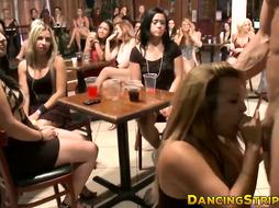 Boldest chick gargling off stripper at a female only soiree