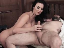 Provocative black-haired, Jasmine Jae is finger-tickling her humid twat while getting her cock-squeezing bum humped