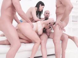 Veronica Avluv and Gal Dee are deep-throating beefsticks and getting them up their backsides, during a four way