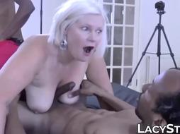 2 dark-hued folks pounding GILF boobs and cock-squeezing humid cunny
