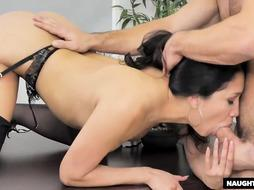 Ebony haired doll is always in the mood to have bang-out at work, until she gets tired