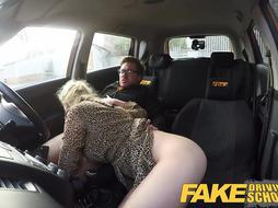 Faux Driving College Platinum-Blonde Grind honeys puss gets jammed
