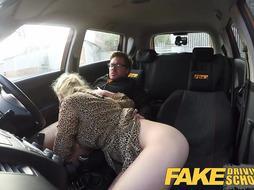 Faux Driving College Platinum-Blonde Grind honeys puss gets jammed