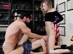 Jillian Janson and Lyra Law are having a 3some with a sumptuous principal, in his office