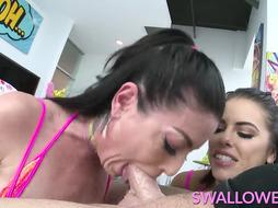 GUZZLED Adriana Chechik and Kissa Sins tag squad oral job