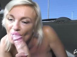 Huge-Titted Caroline is gargling fuck-stick in the back of a van and getting drilled in the nature