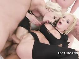 Incredible blondes, Brittany Bardot and Barbie Sins are making out and getting prepared for gang hook-up