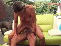 Gorgeous bony German ponytail grannie gets tough rear end fashion thick lollipop plowed by her hubby